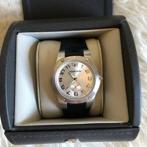 Tourneau New silver watch with black leather band